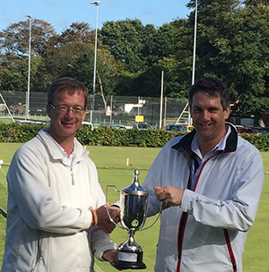 Picture: Alison Girdlestone - Ian Lines presents James Hopgood with the North of England Trophy at Compton Croquet Club.