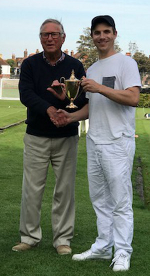 Picture: Debbie Lines - Jamie Burch receiving the Trophy from Brian Ware, Compton CC President.